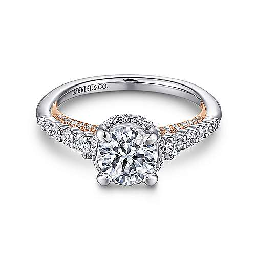 Isabella 14k White And Rose Gold Round Straight Engagement Ring angle 1