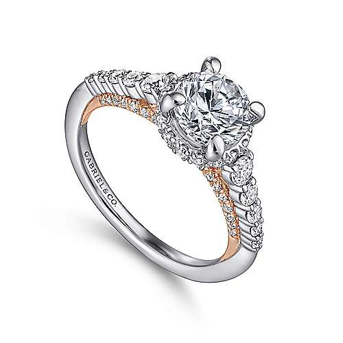 Isabella 14k White And Rose Gold Round Straight Engagement Ring angle 3