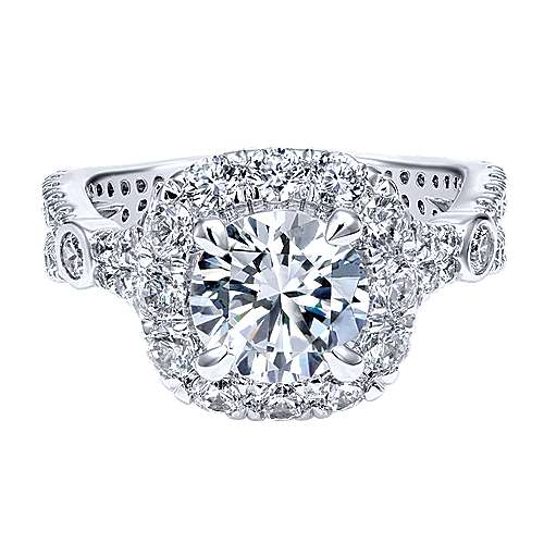 Gabriel - Issa 18k White Gold Round Halo Engagement Ring