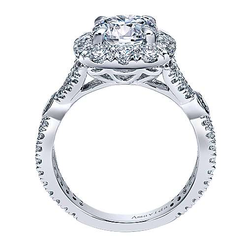 Issa 18k White Gold Round Halo Engagement Ring angle 2