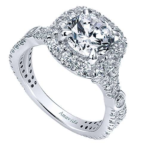 Issa 18k White Gold Round Halo Engagement Ring angle 3