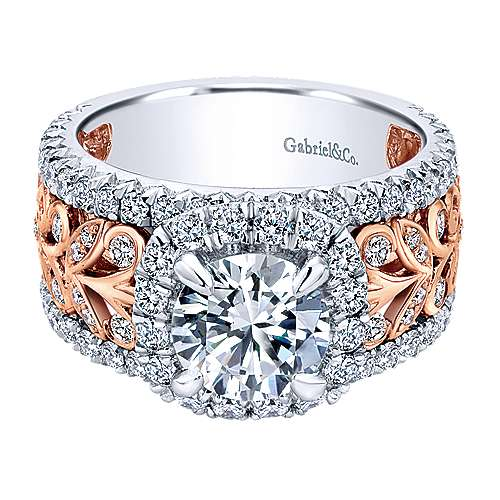 Gabriel - Ivet 18k White And Rose Gold Round Halo Engagement Ring