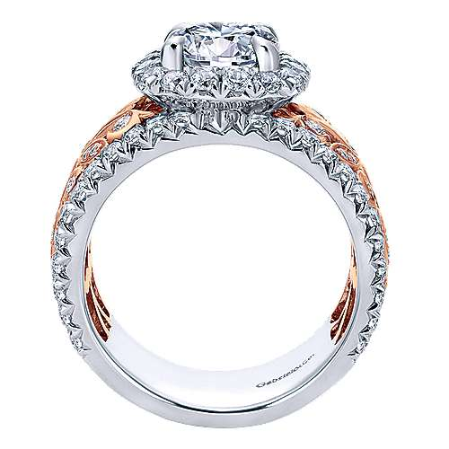 Ivet 18k White And Rose Gold Round Halo Engagement Ring angle 2