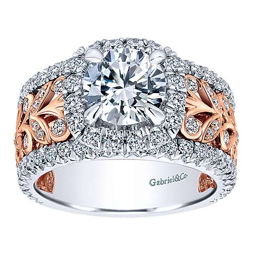 Ivet 18k White And Rose Gold Round Halo Engagement Ring angle 5