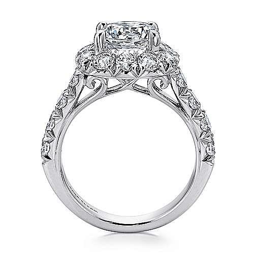 Ivory 14k White Gold Round Halo Engagement Ring