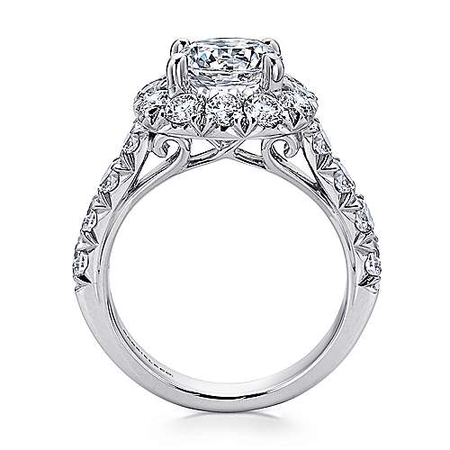 Ivory 18k White Gold Round Halo Engagement Ring angle 2