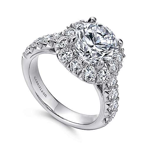 Ivory 18k White Gold Round Halo Engagement Ring angle 3