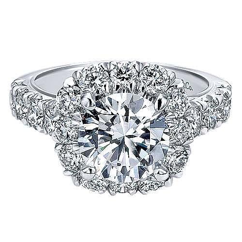 Gabriel - Ivory Platinum Round Halo Engagement Ring