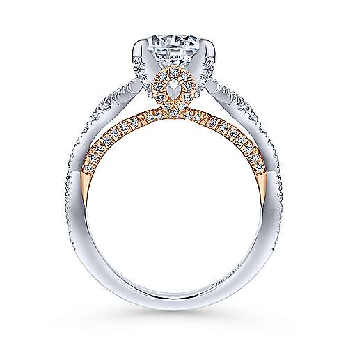 Ivy 18k White And Rose Gold Round Twisted Engagement Ring angle 2