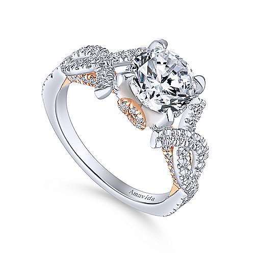 Ivy 18k White And Rose Gold Round Twisted Engagement Ring angle 3
