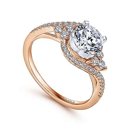 Izzie 14k White And Rose Gold Round Bypass Engagement Ring angle 3