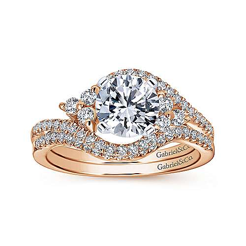 Izzie 14k White And Rose Gold Round Bypass Engagement Ring angle 4