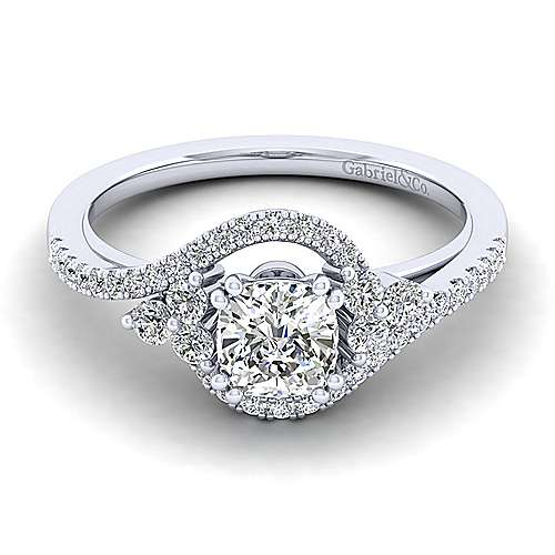 Izzie 14k White Gold Cushion Cut Bypass Engagement Ring angle 1