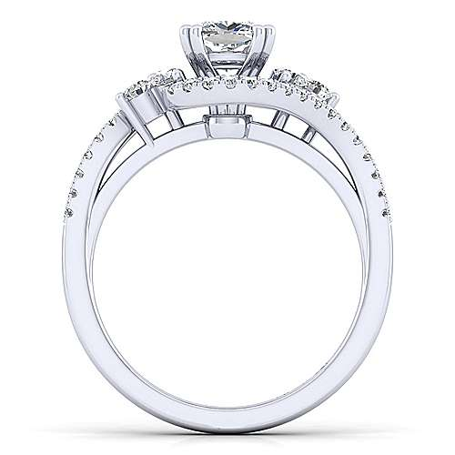 Izzie 14k White Gold Cushion Cut Bypass Engagement Ring angle 2