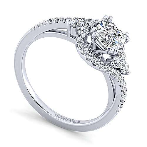 Izzie 14k White Gold Cushion Cut Bypass Engagement Ring angle 3