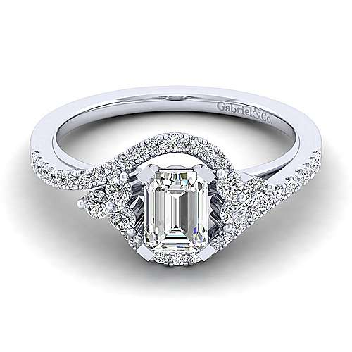 Gabriel - Izzie 14k White Gold Emerald Cut Bypass Engagement Ring