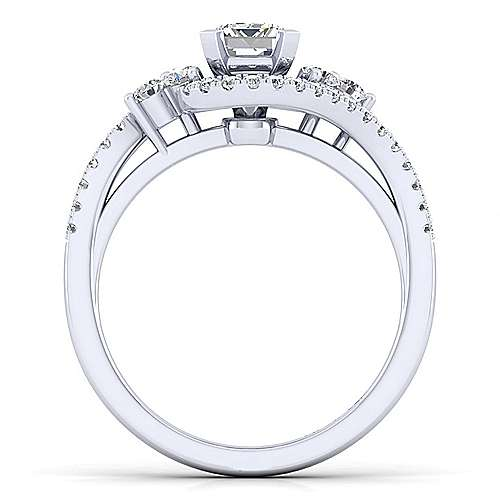 Izzie 14k White Gold Emerald Cut Bypass Engagement Ring angle 2