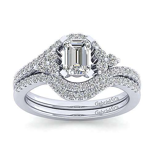 Izzie 14k White Gold Emerald Cut Bypass Engagement Ring angle 4