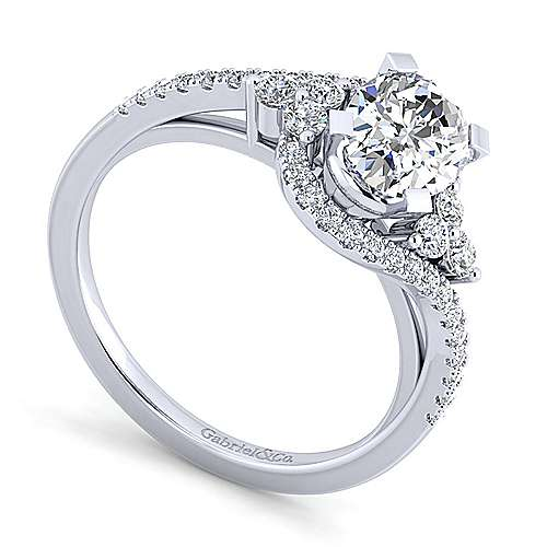 Izzie 14k White Gold Oval Bypass Engagement Ring angle 3