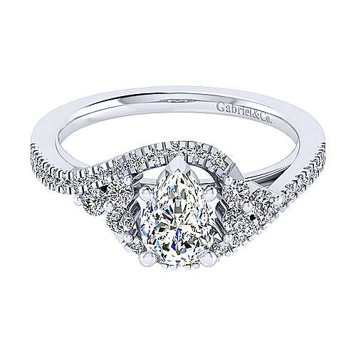 Izzie 14k White Gold Pear Shape Bypass Engagement Ring angle 1