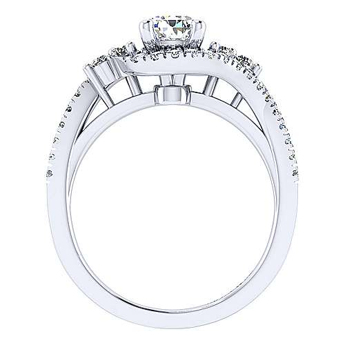 Izzie 14k White Gold Pear Shape Bypass Engagement Ring angle 2