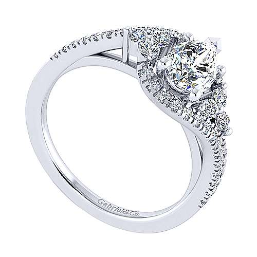 Izzie 14k White Gold Pear Shape Bypass Engagement Ring angle 3