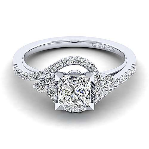 Gabriel - Izzie 14k White Gold Princess Cut Bypass Engagement Ring