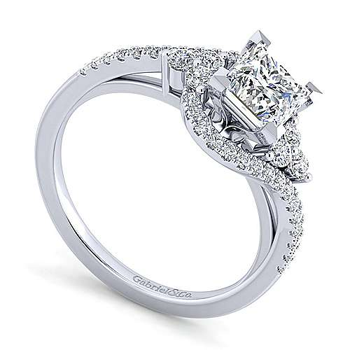 Izzie 14k White Gold Princess Cut Bypass Engagement Ring angle 3