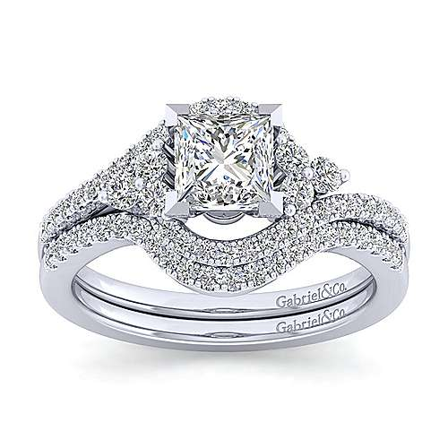 Izzie 14k White Gold Princess Cut Bypass Engagement Ring angle 4