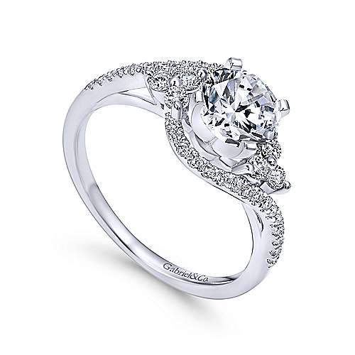 Izzie 14k White Gold Round 3 Stones Engagement Ring angle 3
