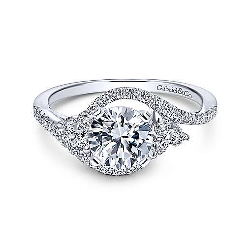 Gabriel - Izzie 18k White Gold Round 3 Stones Engagement Ring