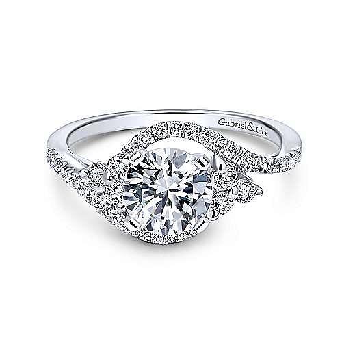 Gabriel - Izzie 18k White Gold Round 3 Stones Engagement Ring