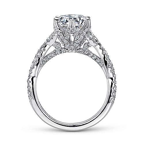 Jacinta 18k White Gold Round Twisted Engagement Ring angle 2