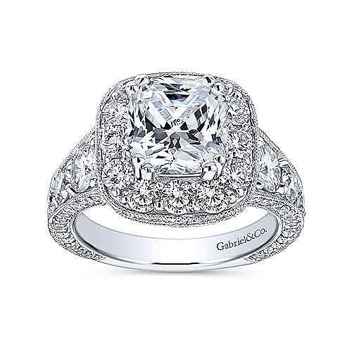 Jackie 18k White Gold Cushion Cut Halo Engagement Ring angle 5