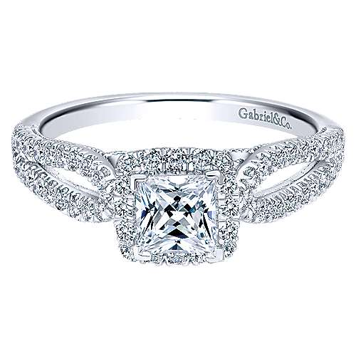 Gabriel - Jackson 14k White Gold Princess Cut Halo Engagement Ring