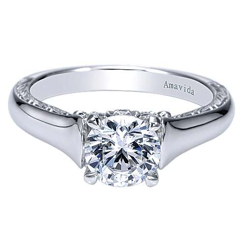 Gabriel - Jacquie 18k White Gold Round Solitaire Engagement Ring