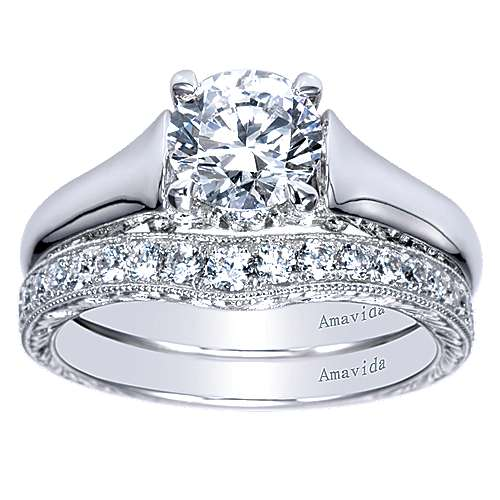 Jacquie 18k White Gold Round Solitaire Engagement Ring angle 4