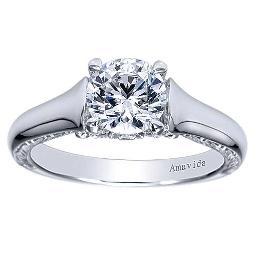 Jacquie 18k White Gold Round Solitaire Engagement Ring angle 5