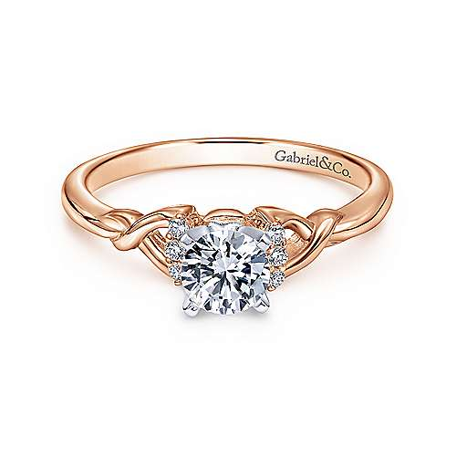 Gabriel - Jaden 14k White And Rose Gold Round Twisted Engagement Ring