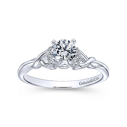 Jaden 14k White Gold Round Twisted Engagement Ring angle 5