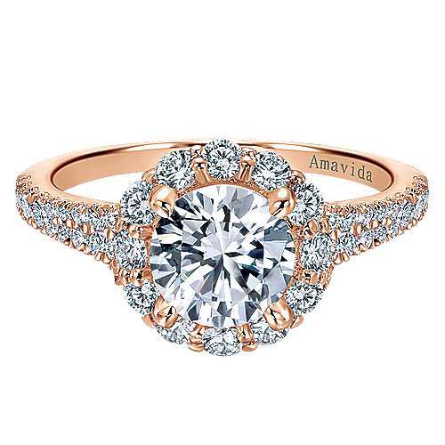 Gabriel - Jaeley 18k Rose Gold Round Halo Engagement Ring
