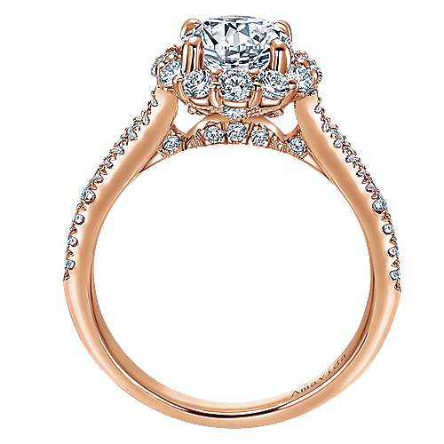 Jaeley 18k Rose Gold Round Halo Engagement Ring angle 2