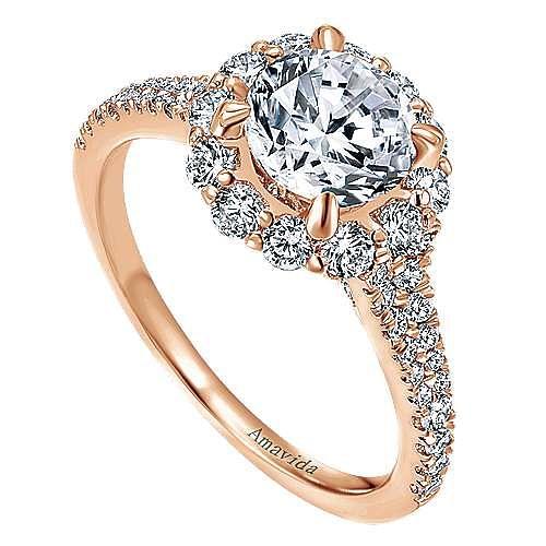 Jaeley 18k Rose Gold Round Halo Engagement Ring angle 3