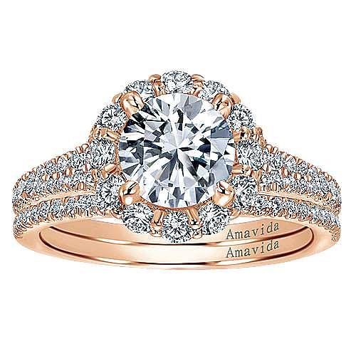 Jaeley 18k Rose Gold Round Halo Engagement Ring angle 4