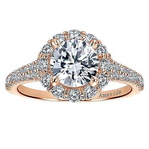 Jaeley 18k Rose Gold Round Halo Engagement Ring angle 5