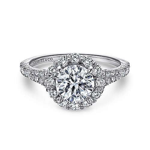 Jaeley 18k White Gold Round Halo Engagement Ring angle 1