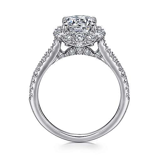 Jaeley 18k White Gold Round Halo Engagement Ring angle 2