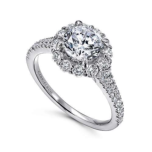 Jaeley 18k White Gold Round Halo Engagement Ring angle 3