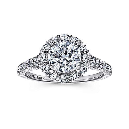 Jaeley 18k White Gold Round Halo Engagement Ring angle 5