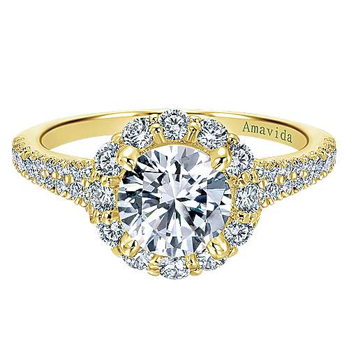 Gabriel - Jaeley 18k Yellow Gold Round Halo Engagement Ring